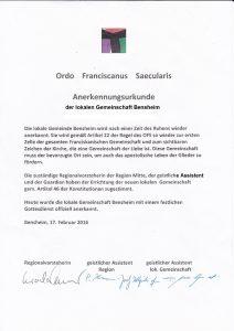 Anerkennungsurkunde OFS Bensheim